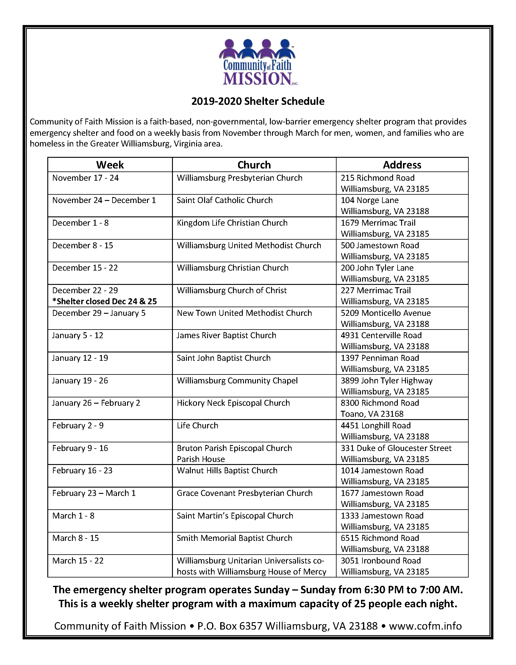 Shelter Schedule | Community Of Faith Mission